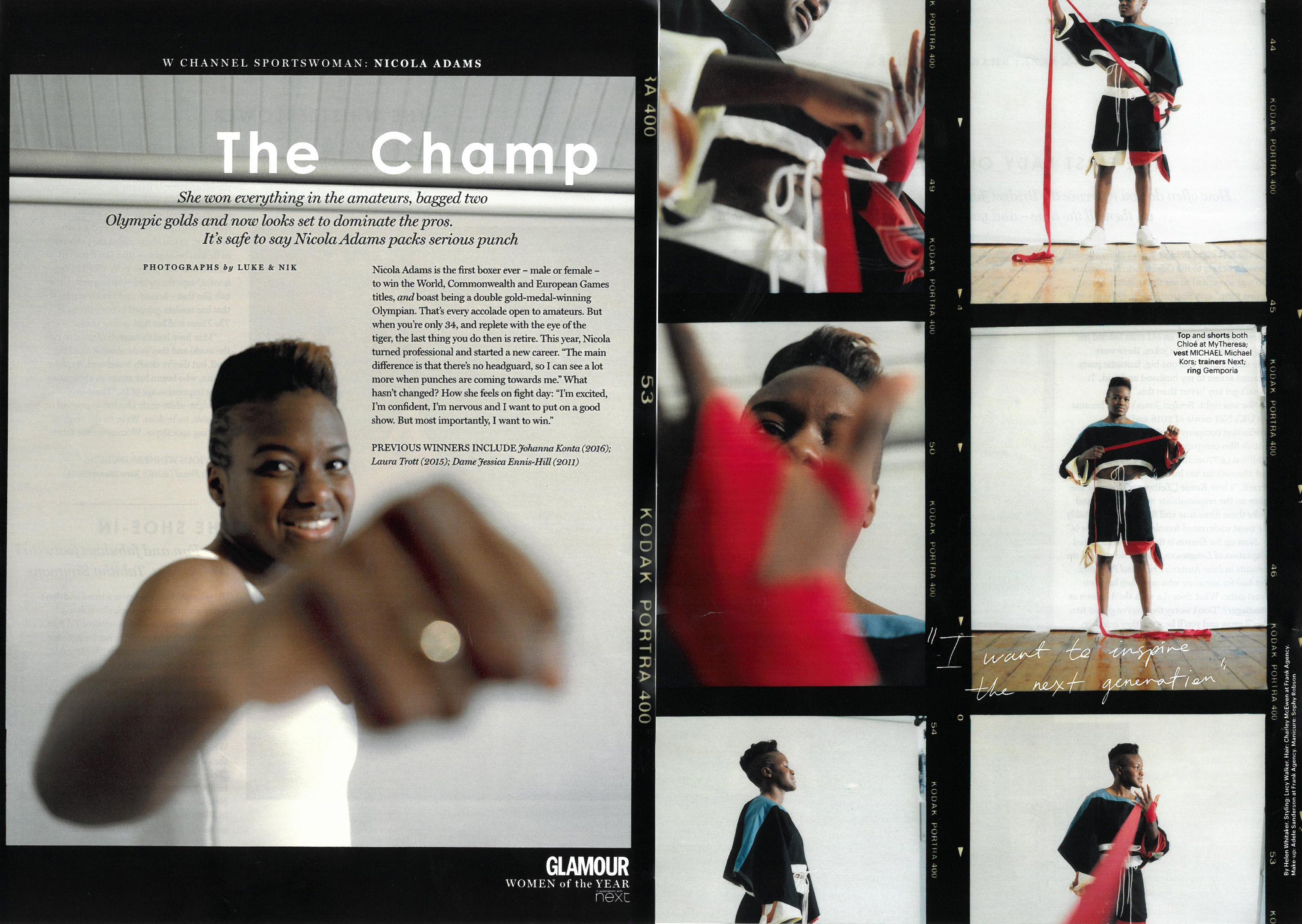 Nicola Adams OBE Glamour Magazine